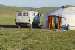 Tourist mini bus parked at the yurt, circa Harhorin, Mongolia. Royalty Free Stock Photo