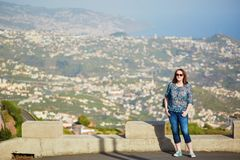 Tourist at Mirador de Cabo Girao on Madeira island, Portugal Royalty Free Stock Images