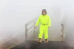 Tourist in the mist Stock Photography