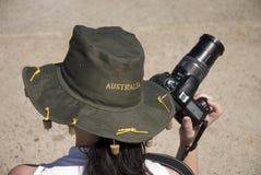 Tourist mit Kamera/Australien Stockfotografie