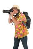 Tourist mit Kamera und Rucksack Stockbild