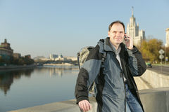 Tourist with mobile phone in Moscow, Russia Stock Photo