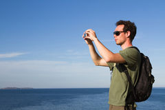 Tourist with mobile stock photo