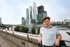 Tourist in Moscow Royalty Free Stock Photography