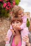 Tourist mother with child Royalty Free Stock Images
