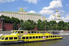 The tourist motor ship against the Kremlin stock photo