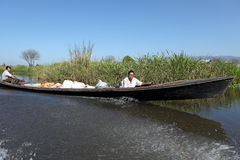 Tourist Motorboat at Lake Inle in Myanmar. A Tourist Motorboat at Lake Inle in Myanmar royalty free stock image