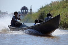 Tourist Motorboat at Lake Inle in Myanmar. A Tourist Motorboat at Lake Inle in Myanmar stock image