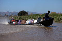 Tourist Motorboat at Lake Inle in Myanmar. A Tourist Motorboat at Lake Inle in Myanmar royalty free stock photos