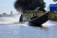Tourist Motorboat at Lake Inle in Myanmar. A Tourist Motorboat at Lake Inle in Myanmar royalty free stock photo