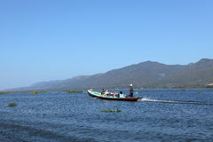 Tourist Motorboat at Lake Inle in Myanmar. A Tourist Motorboat at Lake Inle in Myanmar royalty free stock photography