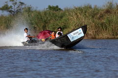 Tourist Motorboat at Lake Inle in Myanmar. A Tourist Motorboat at Lake Inle in Myanmar stock photos