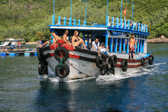 The tourist on the motorboat in nha trang,vietnam Stock Photos