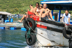 The tourist on the motorboat in nha trang,vietnam Royalty Free Stock Photography