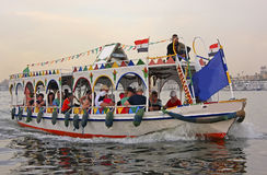 Tourist motorboat on the Nile river, Luxor Stock Photography