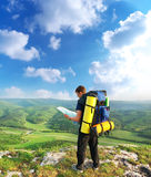 Tourist in mountain Royalty Free Stock Photography