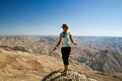 Tourist in mountain of Jordan Royalty Free Stock Photography
