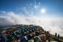 Tourist mountain view point colorful tents Stock Images