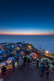 Tourist mountain view point colorful tents Stock Image