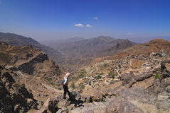 Tourist in mountain Yemen Royalty Free Stock Images