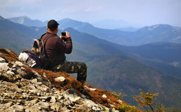 Tourist in the mountains Stock Image