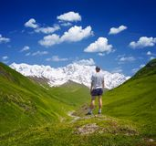 Tourist in the mountains of the Caucasus Stock Image
