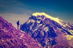 Tourist in mountains.  Sagarmatha National Park, Nepal, Himalaya Royalty Free Stock Image