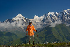 Tourist in mountains _ summer Royalty Free Stock Photography