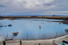 Tourist in Myvatn geothermal lake Royalty Free Stock Image