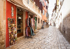 Tourist narrow street with shops Stock Images