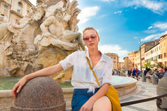 Tourist on Navona square in Rome. Royalty Free Stock Photography
