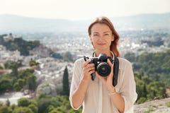 The tourist near the Acropolis of Athens, Greece Stock Image