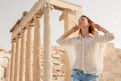 The tourist near the Acropolis of Athens, Greece Stock Images