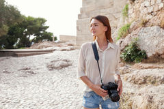The tourist near the Acropolis of Athens, Greece Stock Photos