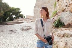 The tourist near the Acropolis of Athens, Greece Stock Photos