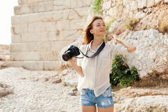 The tourist near the Acropolis of Athens, Greece Royalty Free Stock Images