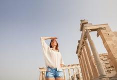 The tourist near the Acropolis of Athens, Greece Royalty Free Stock Photo