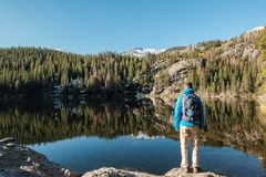 Tourist near Bear Lake in Colorado Stock Images