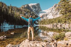 Tourist near Dream Lake in Colorado Stock Image
