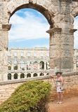 Tourist near the Roman amphitheater in Pula, Croatia Stock Image