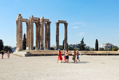 Tourist near ruins of Temple of Zeus in Athens Stock Photography