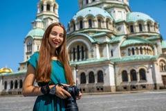 Tourist near the St. Alexander Nevsky Cathedral Stock Photo