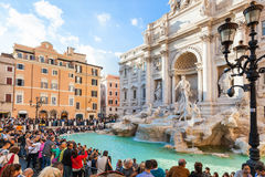Tourist near Trevi Fountain in Rome city Royalty Free Stock Photo