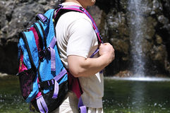 Tourist near waterfall Stock Photos