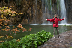Tourist near waterfall _ Croatia Royalty Free Stock Image
