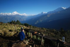 Tourist in Nepal enjoying the views stock image