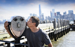 A tourist in New york. A tourist is falling in love with New york City, USA stock photo