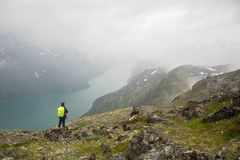 Tourist in Norwat hiking path. Hiking for health in europe mountain travel at summer Stock Image