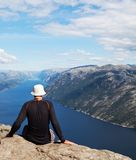 Tourist in Norway Royalty Free Stock Images