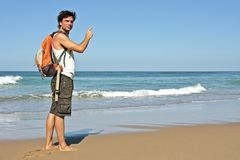 Tourist at the ocean Stock Image